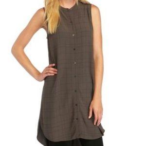Eileen Fisher mandarin collar tunic dress bark L